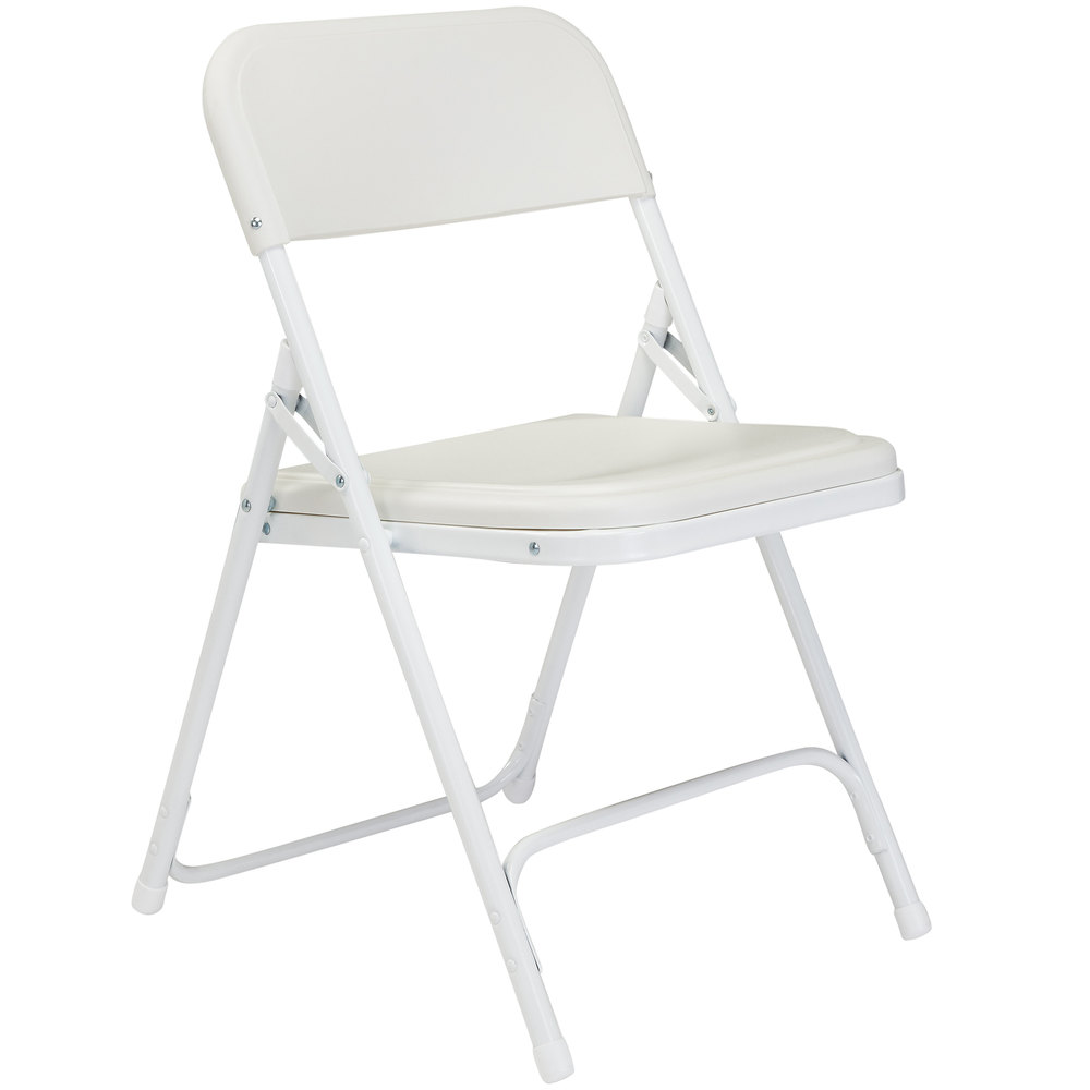 White Stackable Chairs National Public Seating 821 White Metal Folding Chair With White Plastic Seat