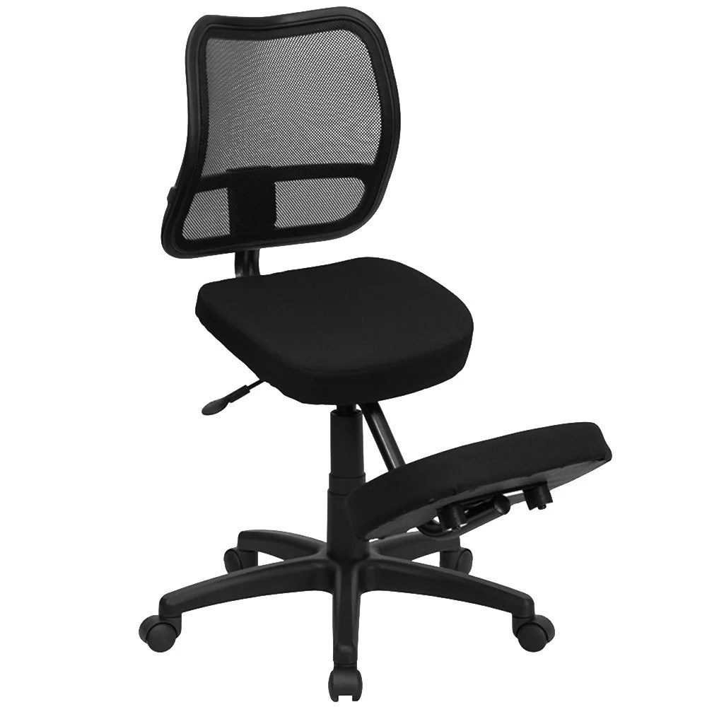 Mobile Chair Flash Furniture Wl 3425 Gg Black Ergonomic Mobile Kneeling Office Chair With Nylon Frame Swivel Base And Curved Mesh Back Rest