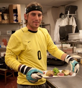 Webster University men's soccer goalie Alex Cupp