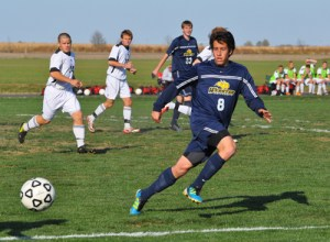 Webster University junior midfielder Agustin Villalba eyes the ball during the Gorloks' 2-0 win at Blackburn College on Oct. 29. Villalba scored Webster's first goal, which helped the Gorloks earn the fourth seed in the SLIAC tournament. PHOTO COURTESY OF KEITH ENGER