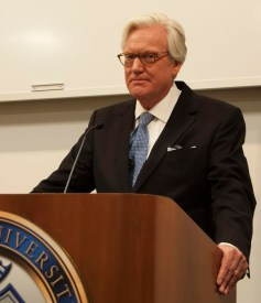 "Bob Dotson, host of ""American Story"" spoke in the East Academic Building on Wednesday, Oct. 1 about his experiences traveling to tell the stories of ordinary Americans. / photo by Matt Duchesne"