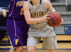 JORDAN PALMER / The Journal Ashley Brooks looks to find a teammate in Webster's 52-47 victory over Fontbonne on Jan. 17 at Grant Gymnasium.