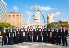 """The Chamber Singers pose for the """"Beginnings"""" album cover. / Photo contributed by the Webster University Department of Music"""