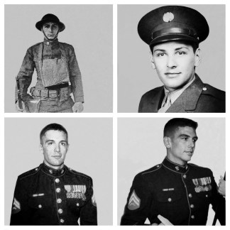Contributed Photo: Matt Palozola Three generations of Palozola military men. Top left is great Grandpa Leo (WWI), top right is Grandpa Len (WWII), bottom left is Tom Palozola (Iraq and Afghanistan) and bottom right is Matt Palozola (Afghanistan).