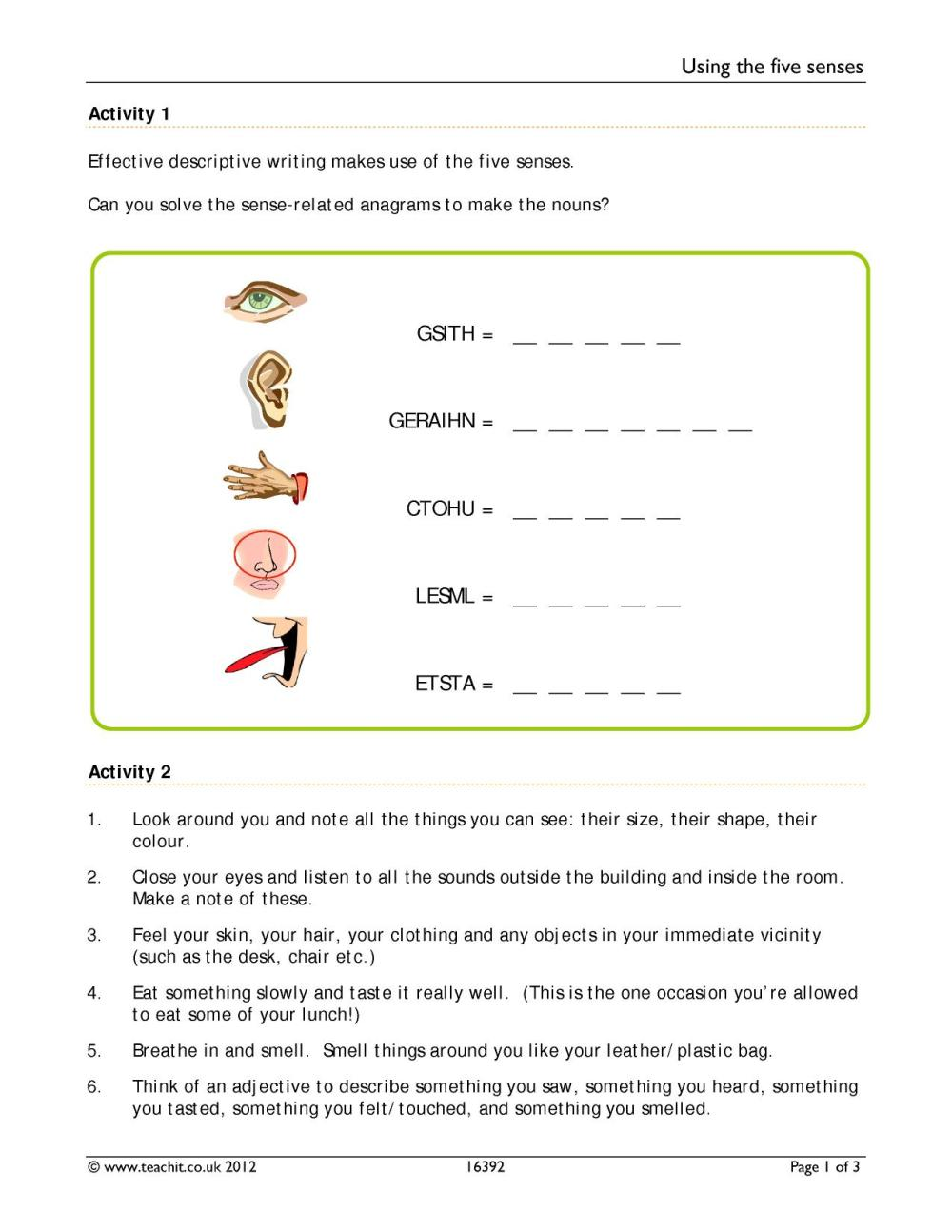 medium resolution of 5 Senses Worksheet Answers   Printable Worksheets and Activities for  Teachers