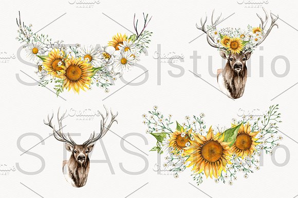 antler clipart flower crown