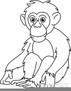 Ape clipart black and white, Ape black and white