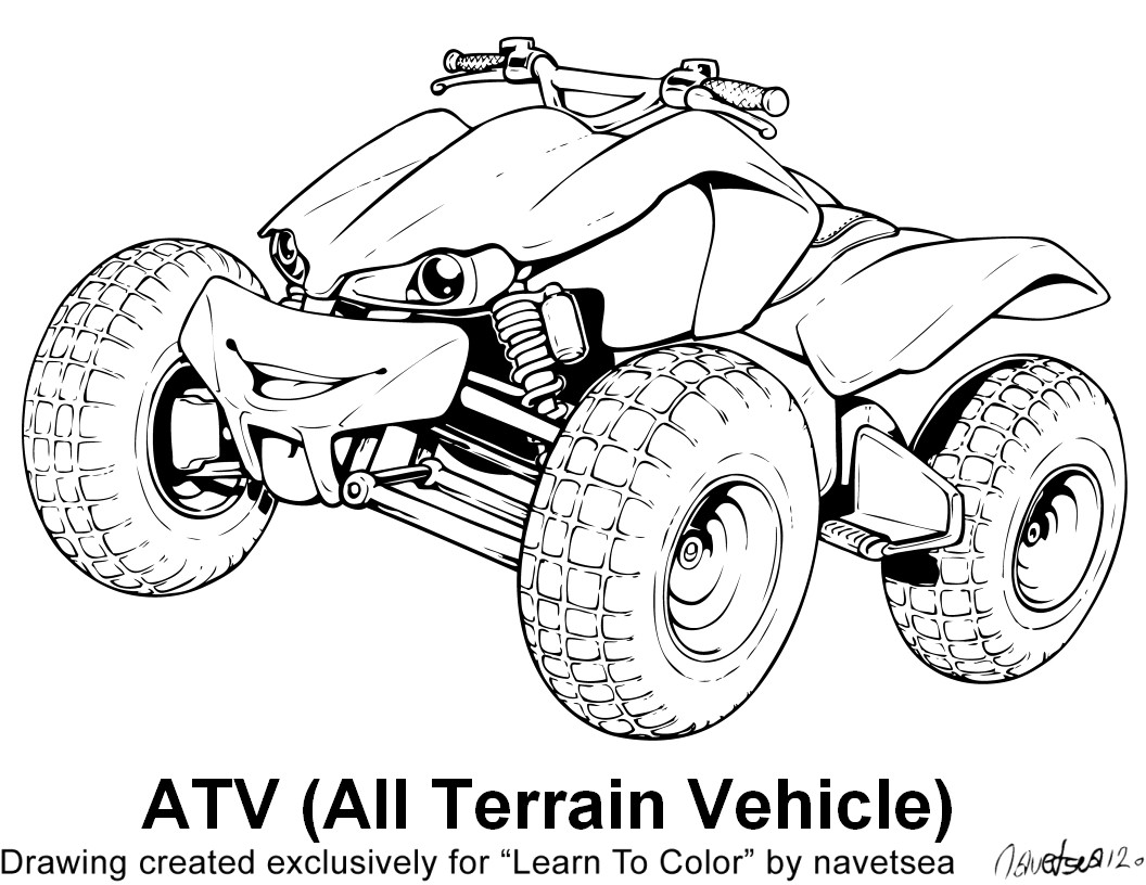 Atv Clipart Coloring Page Atv Coloring Page Transparent