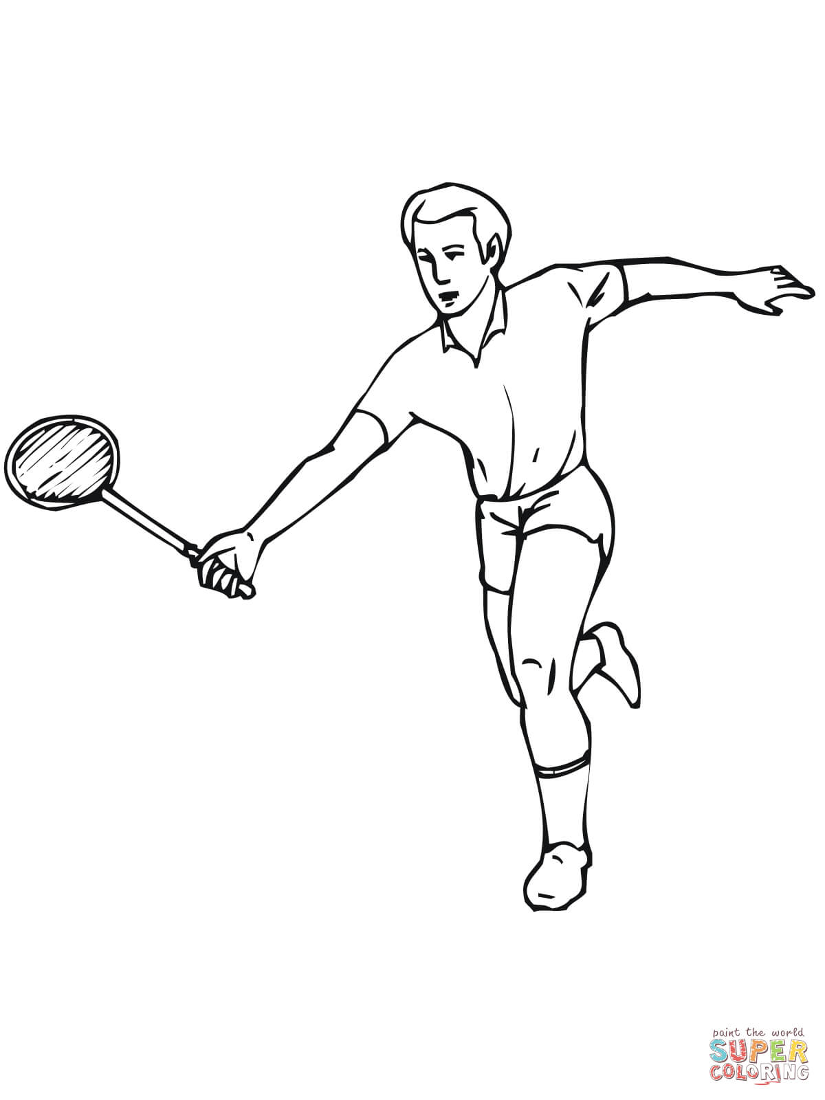Badminton clipart colouring page, Badminton colouring page