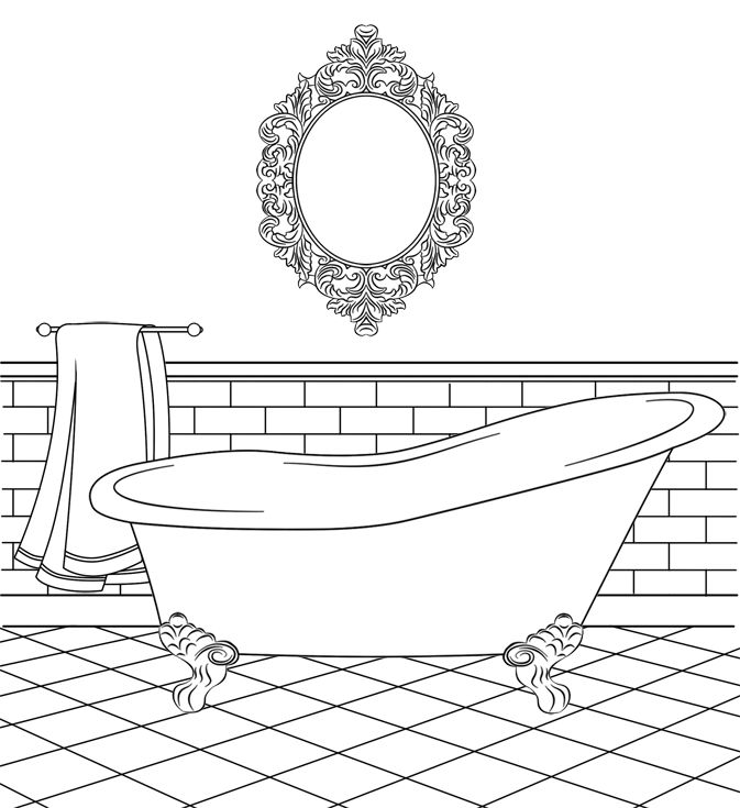 Bathtub clipart coloring page, Bathtub coloring page