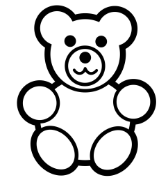 teddy bear black and white panda free worm clipart outline  [ 1969 x 1969 Pixel ]