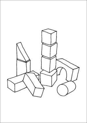 Block clipart colouring page, Block colouring page
