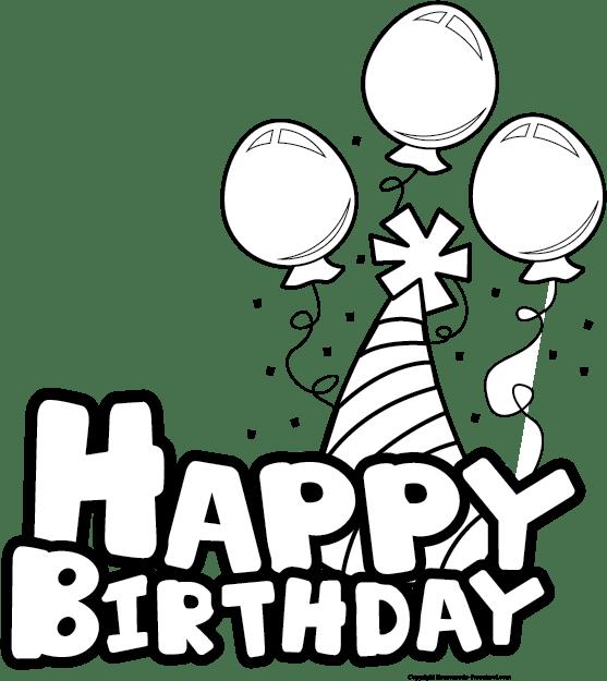 Clipart birthday outline, Clipart birthday outline