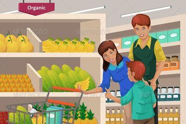 supermarket clipart shopping fruits grocery cartoon vector children illustration market boy organic clip fruit mother food customer business cart graphicriver