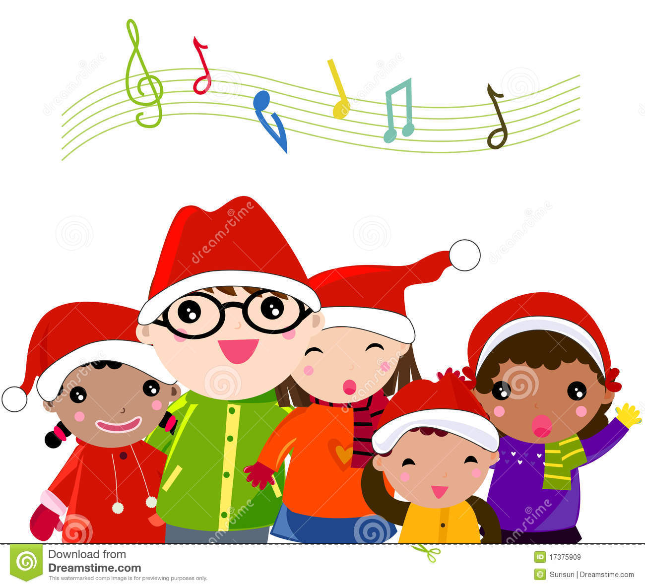 hight resolution of christmas caroling clipart