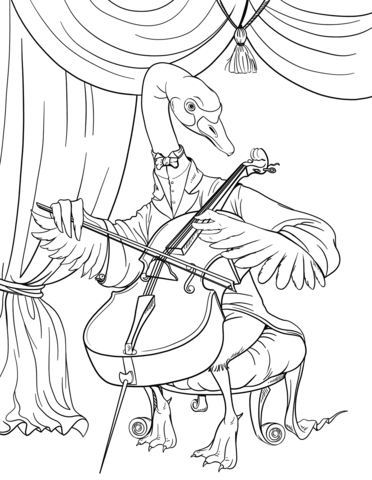 Cello clipart coloring page, Cello coloring page