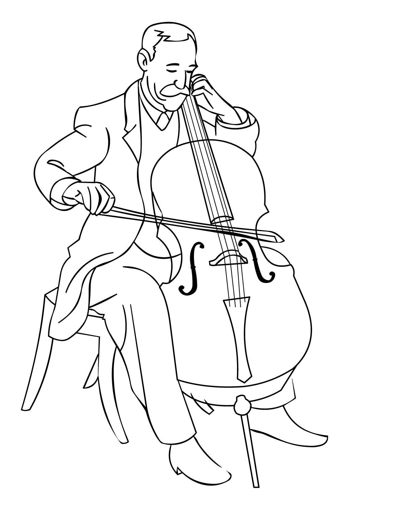 Cello Clipart Coloring Page Cello Coloring Page