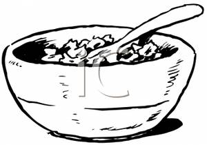 Cereal clipart black and white, Cereal black and white