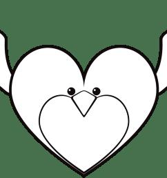 clipart face big bird heart line art image [ 2330 x 901 Pixel ]