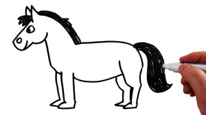 horse draw clipart easy drawing pony step very kid race steps kindergarteners pdf webstockreview sambar behavior simply