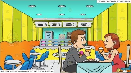 Cartoon Inside Restaurant