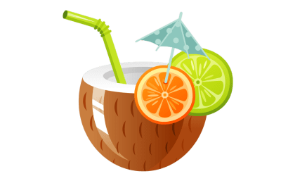 coconut drink clipart tropical clip cocktail background drinks transparent clear without juice summer collection webstockreview