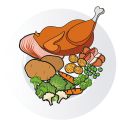 cartoon clipart dinner christmas feast transparent plate ham webstockreview ready chicken hillarys cost past
