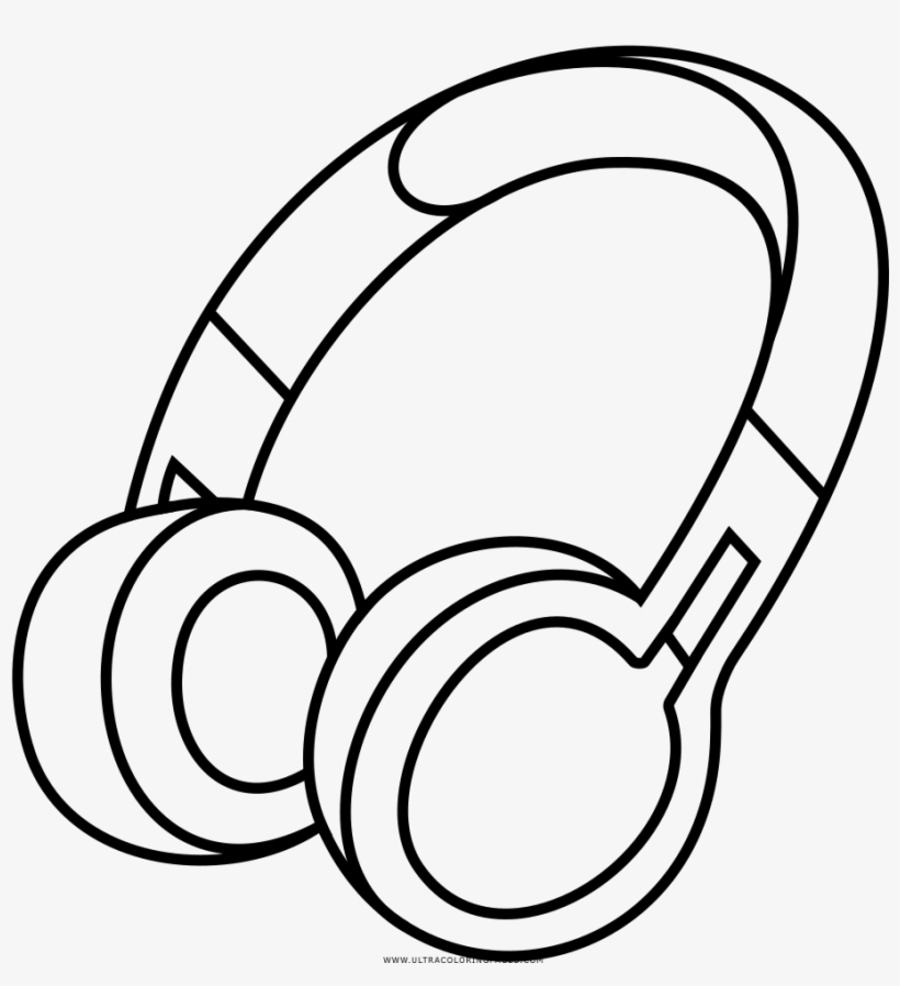 Headphone clipart coloring page, Headphone coloring page