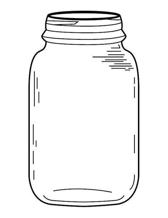Jar clipart coloring page, Jar coloring page Transparent