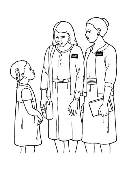 Missionary clipart coloring page lds, Missionary coloring
