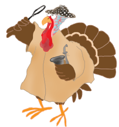 happy thanksgiving turkey running away murder mysteri october clipart pumpkin  [ 991 x 1086 Pixel ]