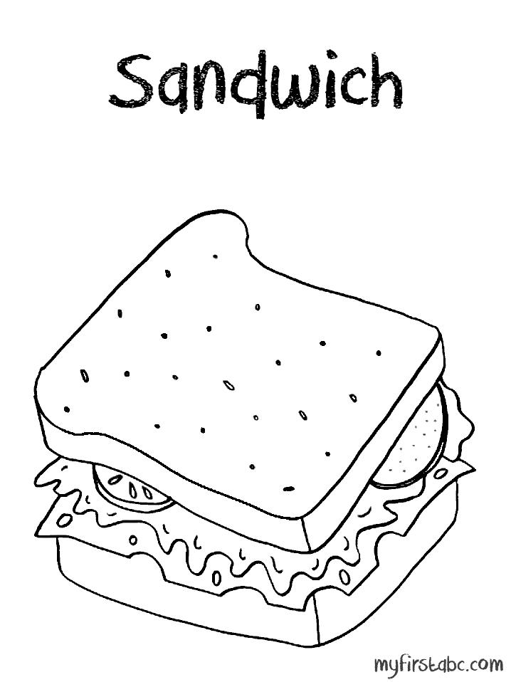 Sandwich clipart coloring page, Sandwich coloring page
