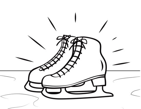 Skate clipart colouring page, Skate colouring page