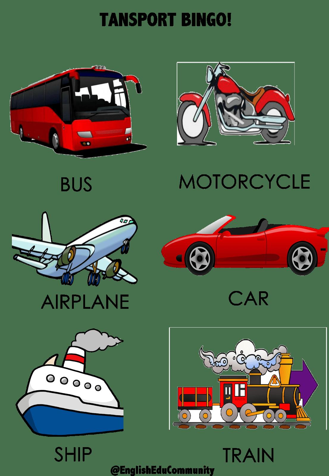 Transportation Clipart Bingo Transportation Bingo