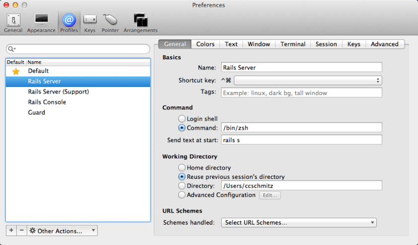 Preview of iTerm Profiles tab