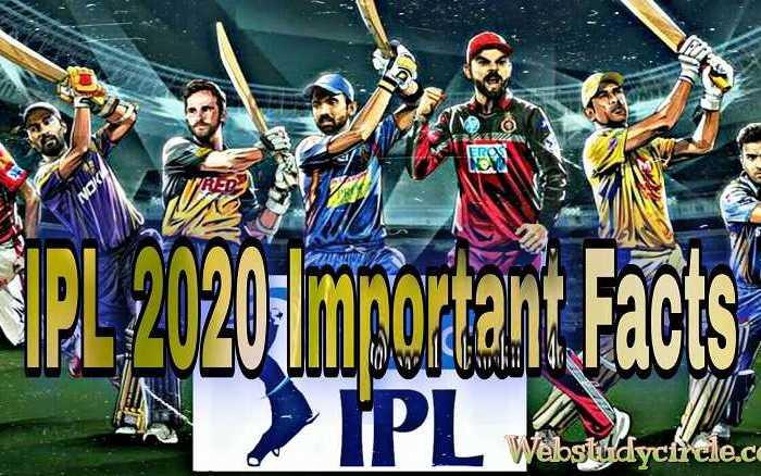 IPL 2020 महत्वपूर्ण तथ्य