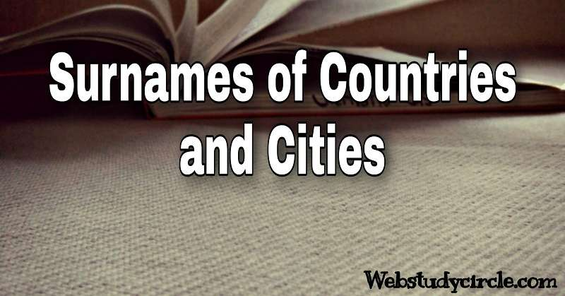 Surnames of countries and cities