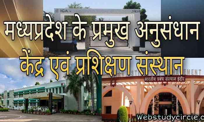 मध्यप्रदेश के प्रमुख अनुसंधान केंद्र एवं प्रशिक्षण संस्थान । MP ke Pramukh Anusandhan Kendra