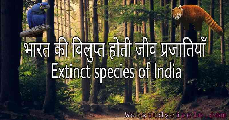 भारत की विलुप्त होती जीव प्रजातियाँ । Extinct species of India