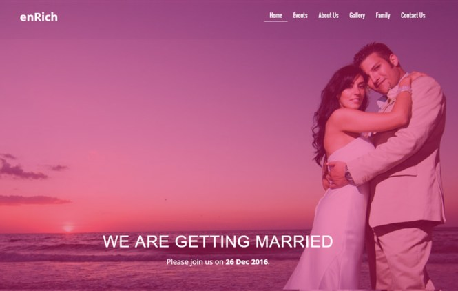 Wedding Website Template By The Webthemez