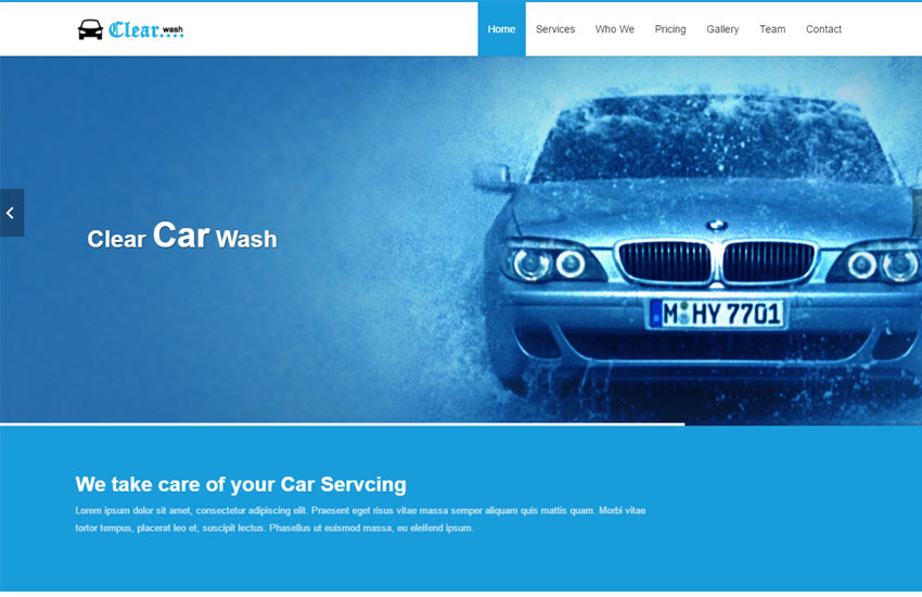 Car Wash HTML Responsive Website Template Free Download