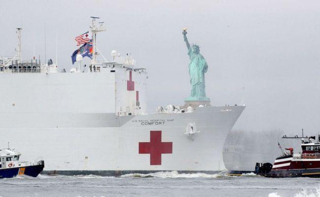 Coronavirus Usa Update Usns Comfort Arrives In New York