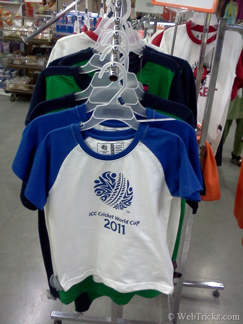 Buy Official ICC Cricket World Cup 2011 TShirts Caps