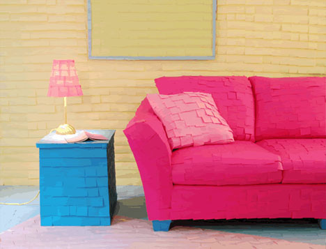 Post It Covered Couch and Furniture