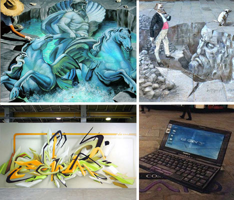 3D graffiti, whether it's in chalk or paint, on walls or the street,