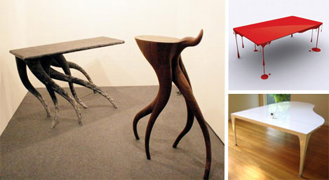 Tables that want to be horses, dripping paint and a grand piano