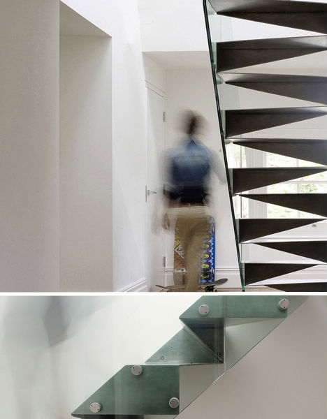 Suspended Staircases 18 Hanging Stair Tread Sets Urbanist | Folding Staircase Steel Design | Stair Railing | Loft | Glass Railing | Spiral Staircase | Handrail