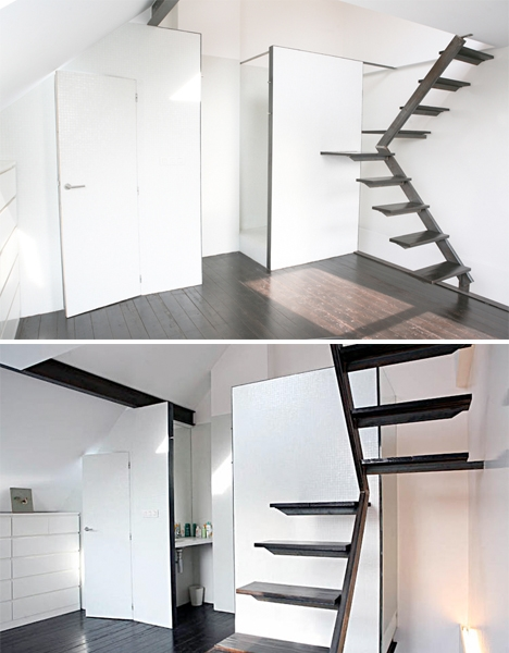 Space Saving Stairs Design For Small Space   Stair Designs For Small Areas   Creative   Simple   Steep Stair   Trendy   Living Room
