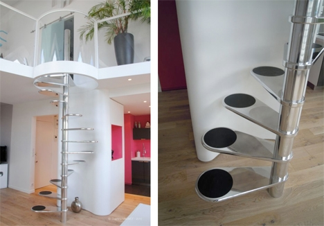 Steps To Saving Space 15 Compact Stair Designs For Lofts Urbanist   Space Saving Spiral Staircase   Child Friendly   Do It Yourself Diy   Metal   Duplex House   Loft
