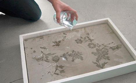 agua activada la decoración de concreto